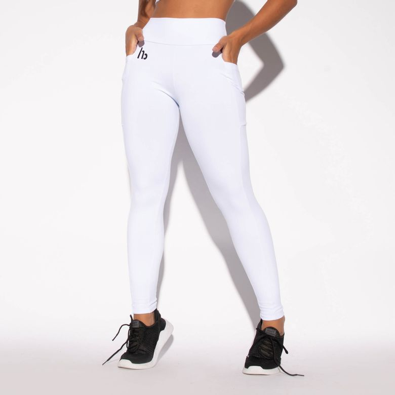 Legging com Bolso Fitness HB Branca LG1198
