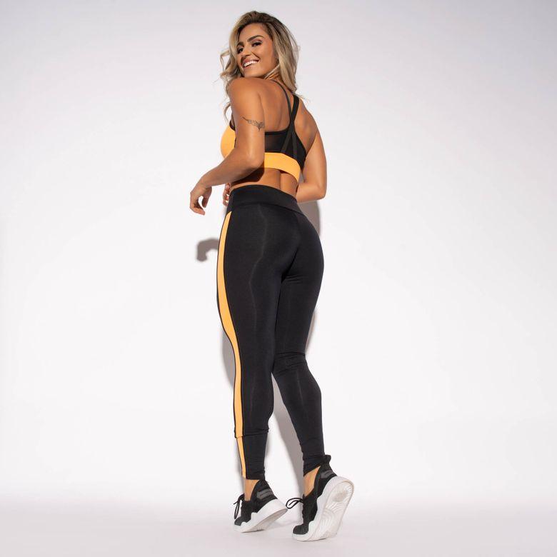 Legging Fitness Preta Poliamida Recorte Lateral Laranja LG1450