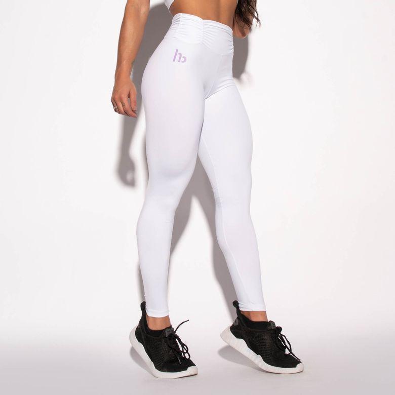Legging Fitness Branca Cós Franzido HB LG1507