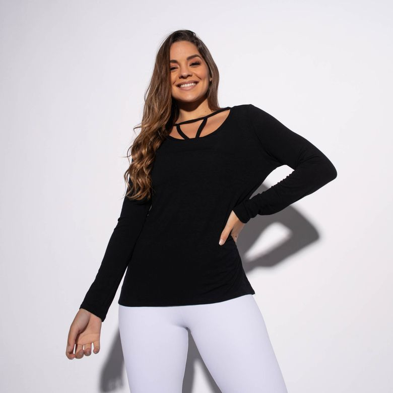 Blusa Fitness Viscolycra Preta Decote Frontal BL357