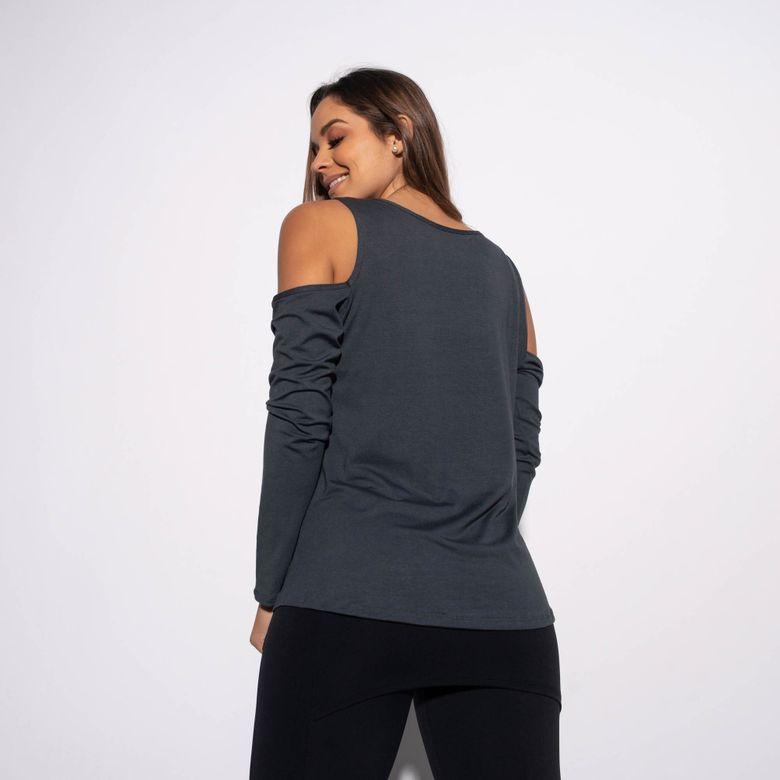 Blusa Fitness Viscolycra Cinza Decote Ombros e Dedinho BL358
