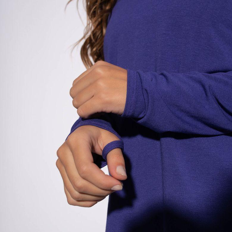 Blusa Fitness Viscolycra Roxa Decote e Ombros Dedinho BL359