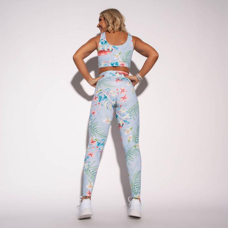 Legging Fitness Azul Estampada Happy LG1582
