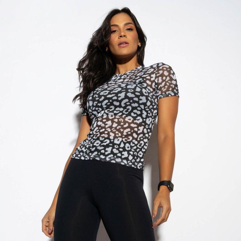 Blusa Fitness Preta Tule Estampado Onça CM209