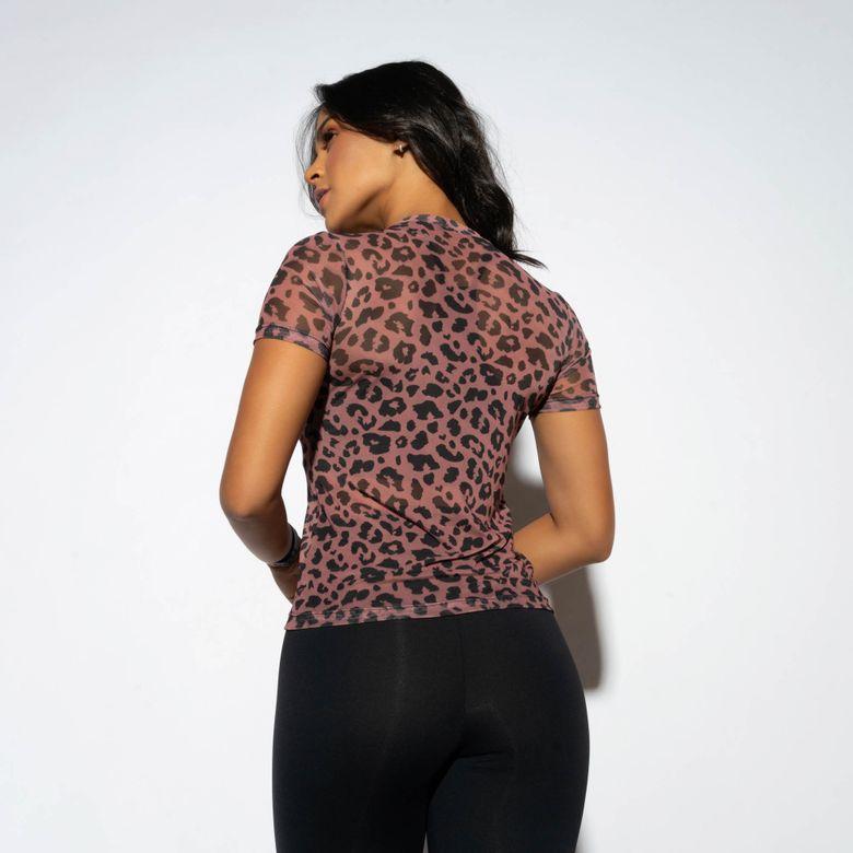 Blusa Fitness Rosê Tule Estampado Onça CM210