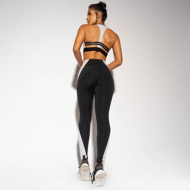 Legging Fitness Preta Recorte Lilás LG1657