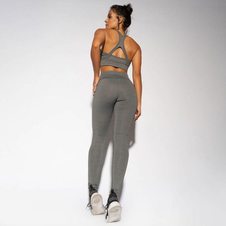 Legging Fitness Mesclada Recorte em Tule LG1660
