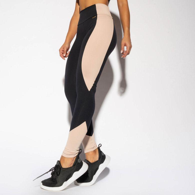 Legging Fitness Preta Recorte Bege LG1654