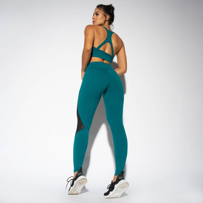 Legging Fitness Verde Recorte em Tule LG1659