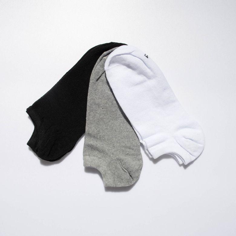 Meia Masculina Invisível Preta, Branca e Cinza Kit 3 Pares Nº 38 a 42 ME493