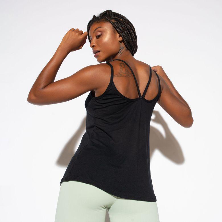 Camiseta Fitness Preta Alcinhas Duplas  CT658