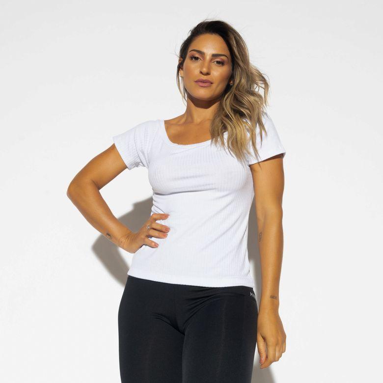 Blusa Fitness Canelada Gola Canoa Branca BL407