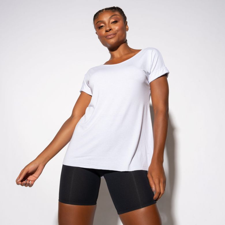 Blusa Fitness Decote Costas Branca BL400