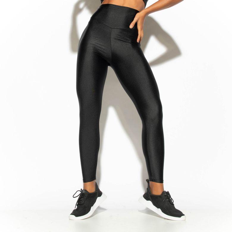 Legging Fitness Cós Alto Preta Gloss LG1758