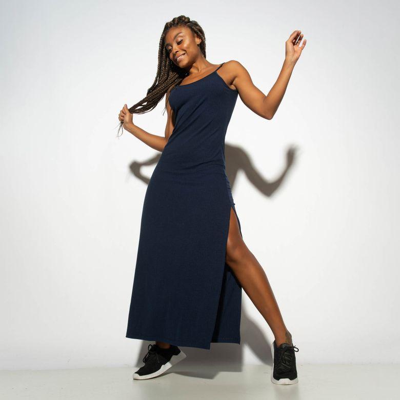 Vestido Canelado Azul com Fenda VT075
