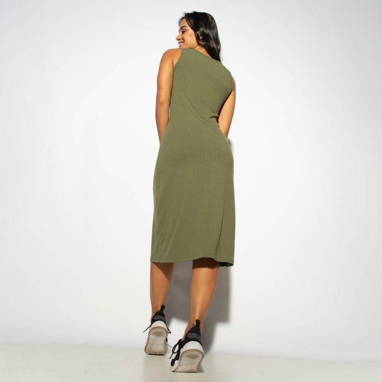 Vestido Canelado Verde com Botão VT069