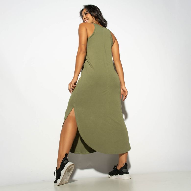 Vestido Liso Verde com Fenda VT074
