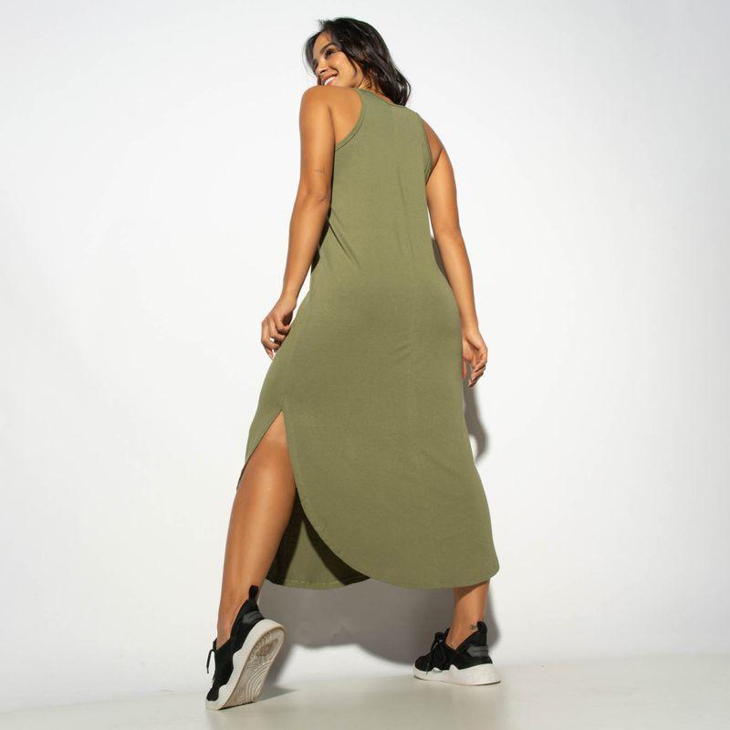 Vestido-Liso-Verde-com-Fenda-