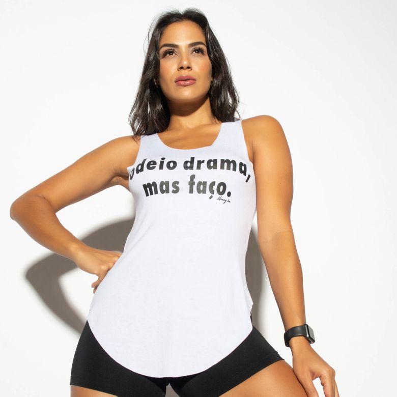 Regata Fitness Branca Odeio Drama CT700