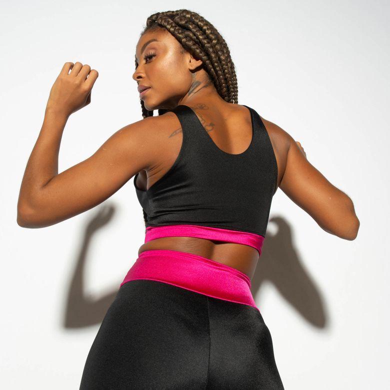Top Fitness Duplo Gloss Preto com Rosa TP1238