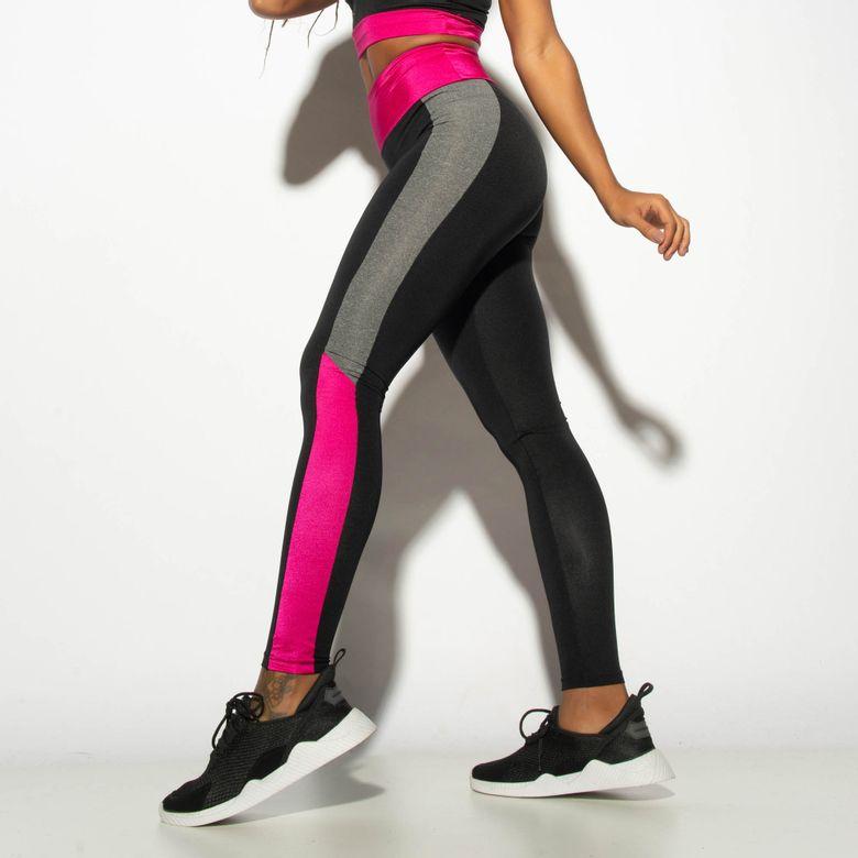 Legging Fitness Cintura Alta Gloss Recorte Preto/Mescla LG1860