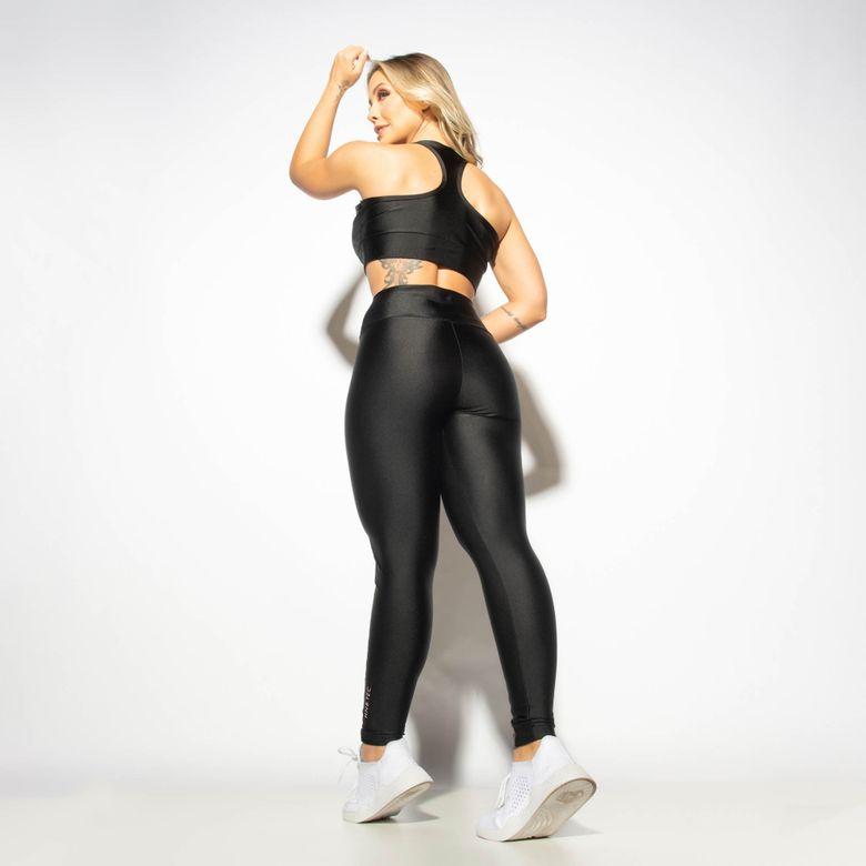 Legging Fitness Gloss Preta com Faixa Lateral LG1903