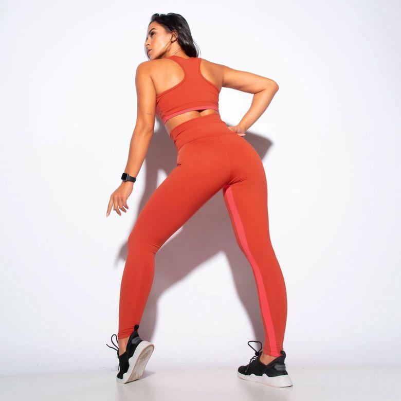 Legging Fitness Cintura Alta Recortes Honey Laranja LG1854