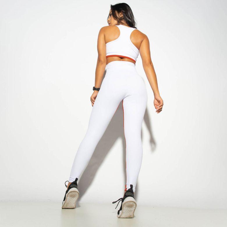 Legging Fitness Cintura Alta Recortes Honey Branca LG1855