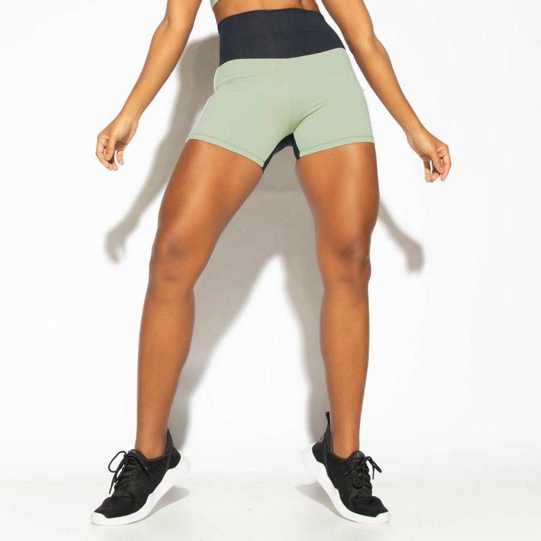 Short Fitness Cintura Alta Bicolor Street Verde SH465
