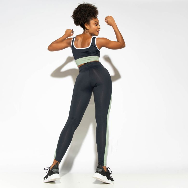 Legging Fitness Cintura Alta Bicolor Street Verde LG1845