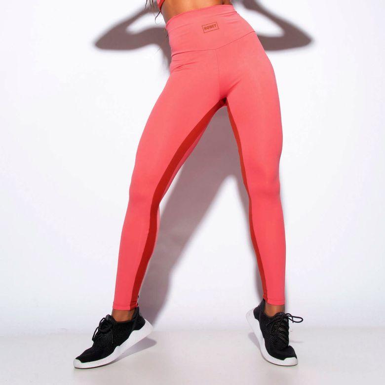 Legging Fitness Cintura Alta Recortes Honey Rosa LG1857