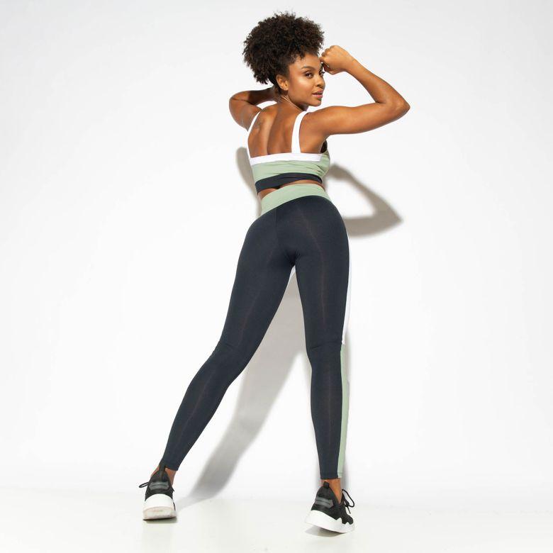 Legging Fitness Cintura Alta Recortes Street Tricolor LG1846