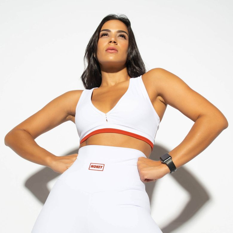 Top Fitness Cropped Honey Branco TP1207