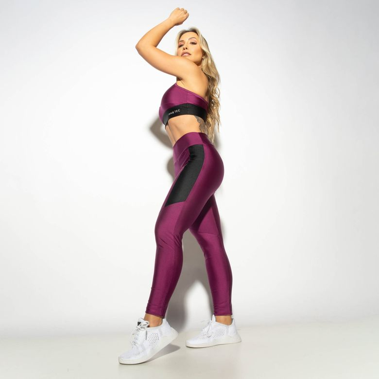 Legging Fitness Gloss Duas Cores Roxo / Preto LG1916