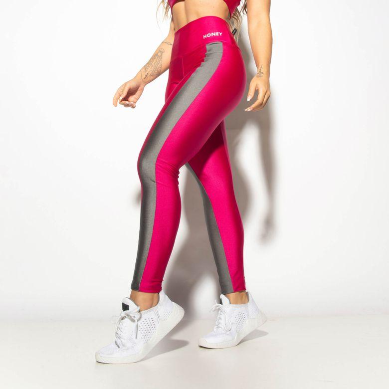 Legging Fitness Gloss Rosa com Faixa Lateral LG1918