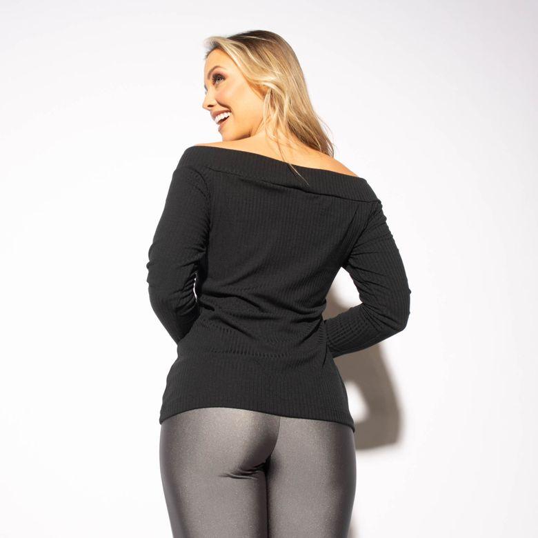 Blusa Fitness Canelada Preta Ombro a Ombro BL433