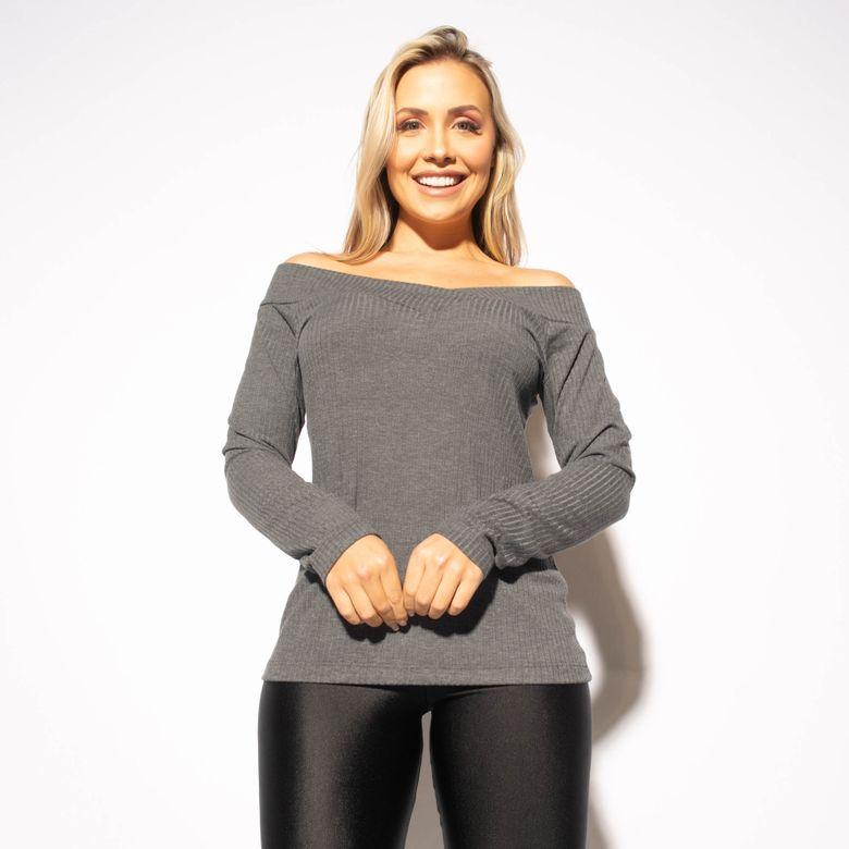 Blusa Fitness Canelada Mescla Ombro a Ombro BL435