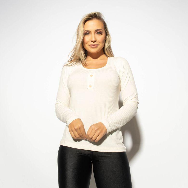 Blusa Fitness Canelada Off White com Botões BL445