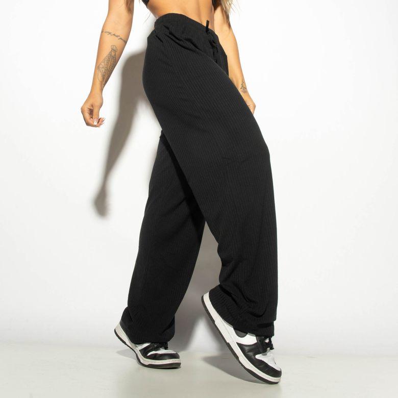 Calça Fitness Canelada Lisa Preta CF081