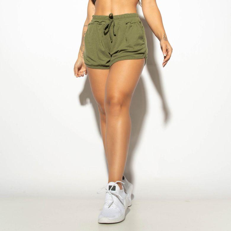 Short com Bolso Fitness Canelado Verde Militar SH503