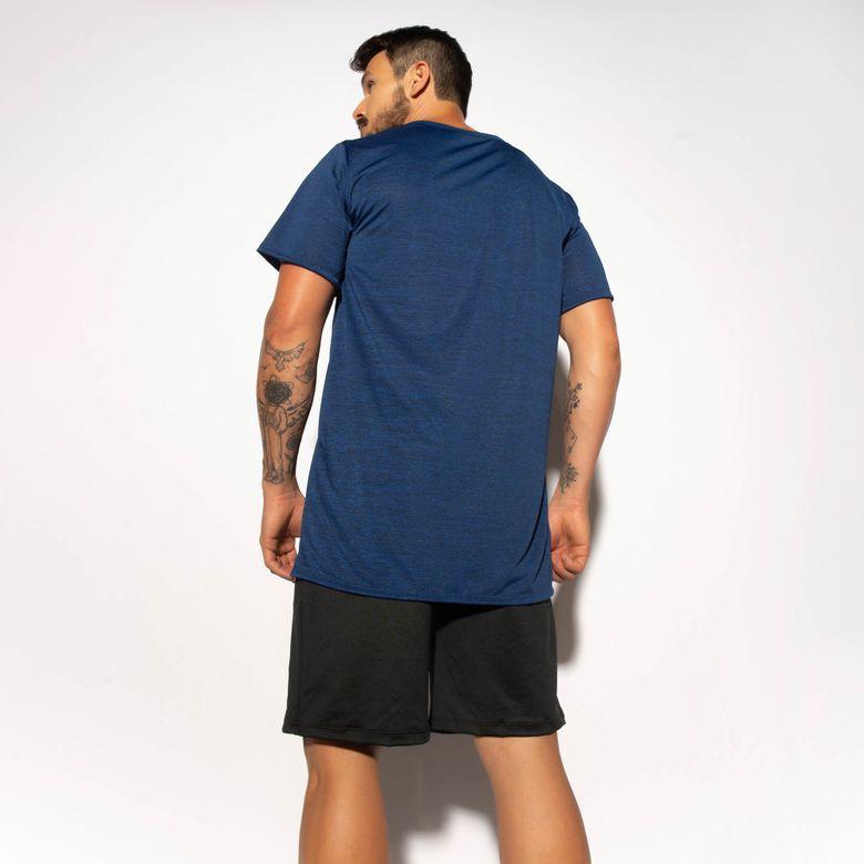 Camisa Fitness Azul Mesclada Dry Tech CM215