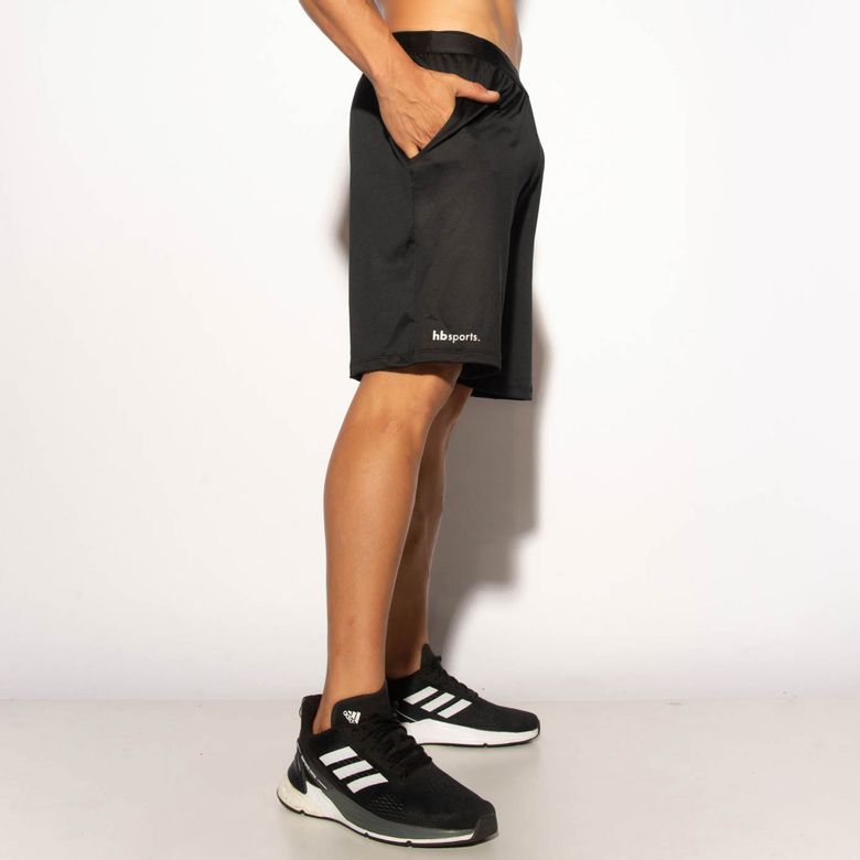 Bermuda Fitness Preta Dry Silk Branco BD130