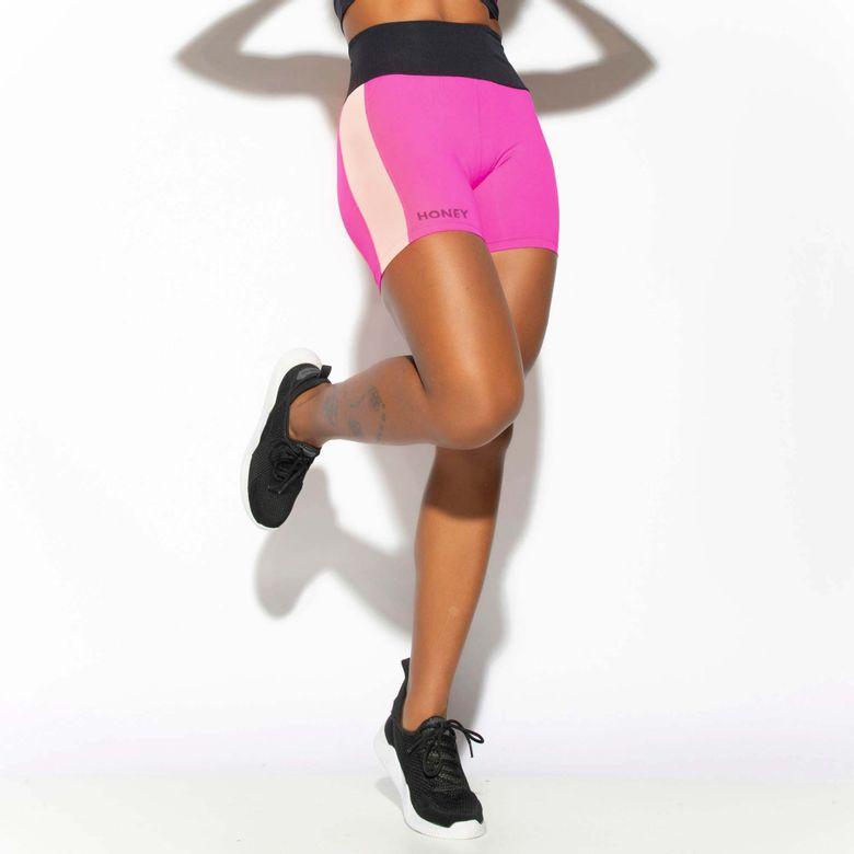 Short Fitness Rosa Power com Faixa Lateral SH459