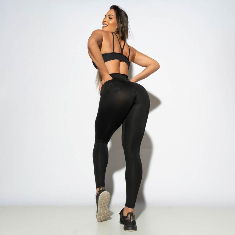 Legging Modeladora Empina Bumbum c/ Bolso Preta LG1896