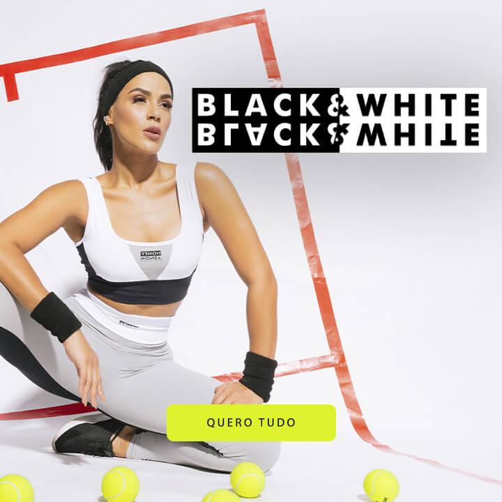 roupa fitness preta e branca